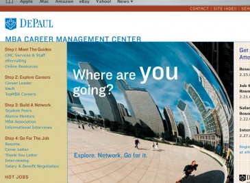 DePaul University MBA Career Managment Center website