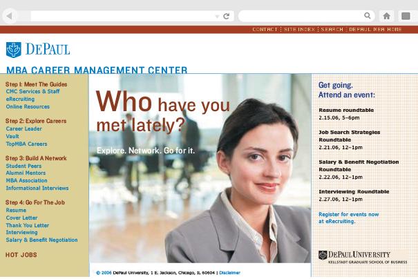 DePaul MBA Career Management Center website