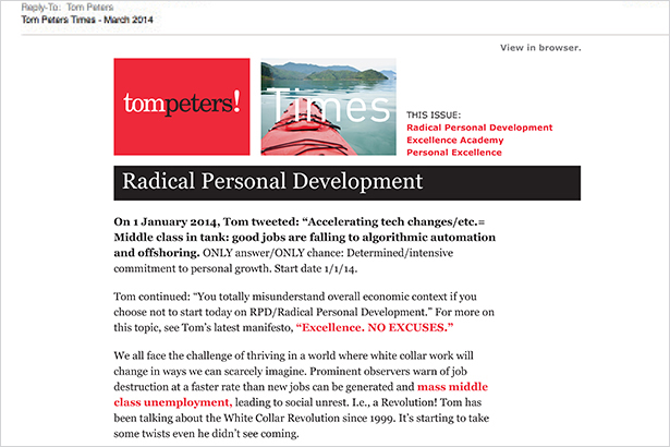 Tom Peters Times e-newsletter